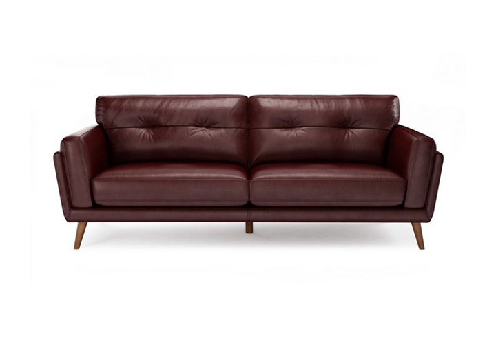 Mastro Bordeaux Leather 3 Seater Sofa