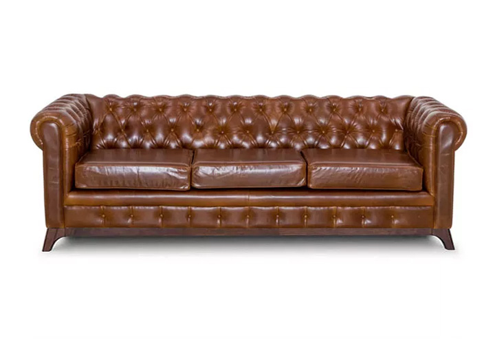 Maya Chesterfield Chestnut Leather 3 Seater Sofa