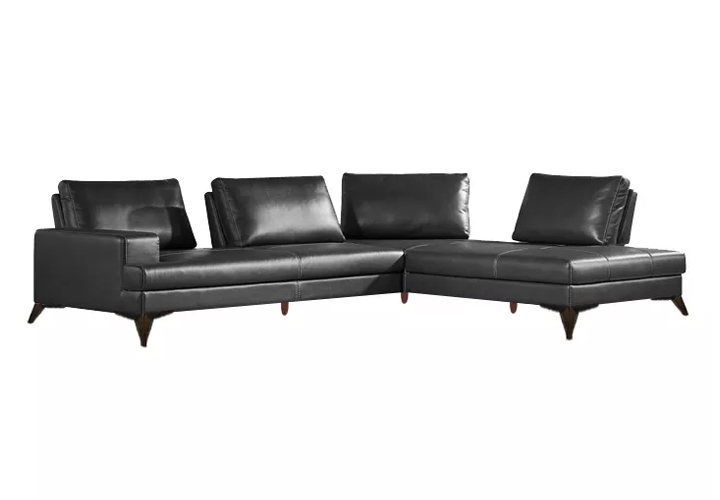 Cartos Black Leather Motion Sofa