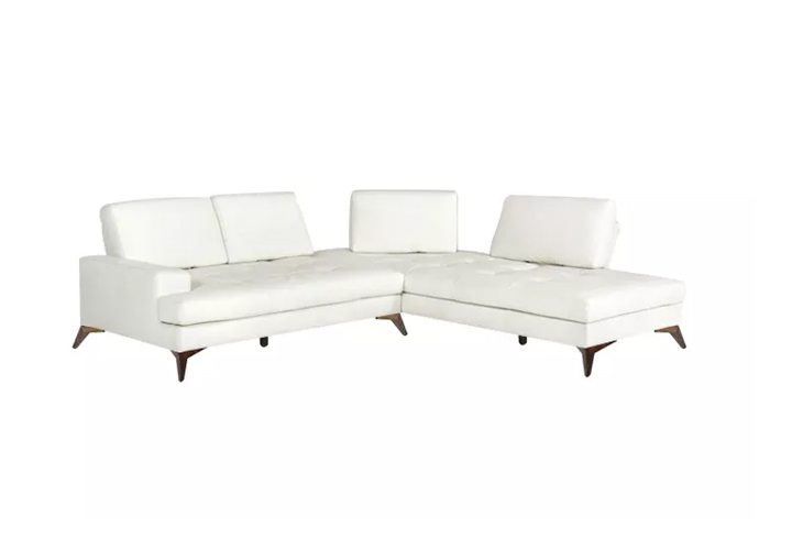 Cartos White Leather Motion Sofa
